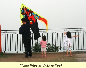flying kites at Victoria Peak