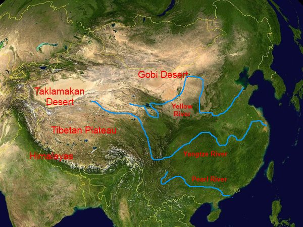 Physical Map of China: mountains, rivers, deserts, plateaus
