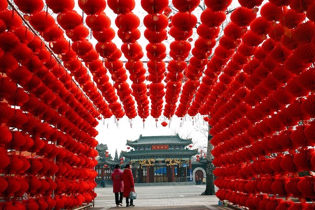 Gorgeous Red Lantern Display at Temple in Beijing