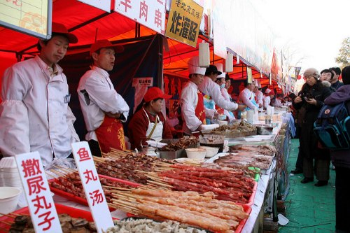 Snack Vendors during Chinese New Year at Ditan Temple Fair in  Beijing