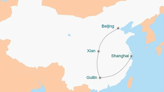 China Guided Tour Map Guilin to Shanghai