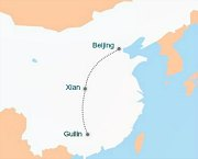 China Tour Map Flight from Xian to Guilin