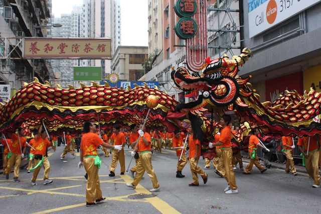 Chinese Dragon Parade with dragon chasing pearl of wisdom
