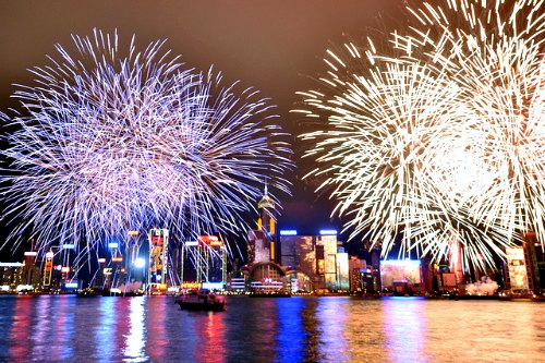 Chinese New Year Fireworks over Victoria Harbour in Hong Kong