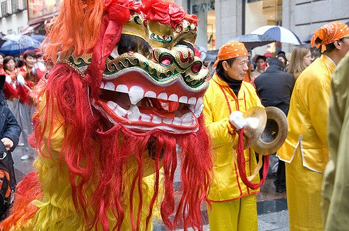 Lion Dancers Parade in Madrid during Chinese New Year
