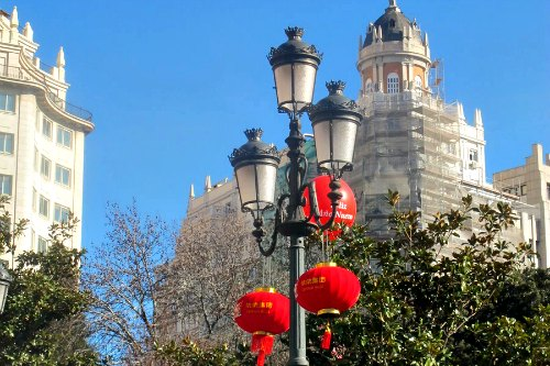 Red Lanterns decorate Plaza de Espana for Chinese New Year in Madrid
