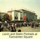 First Trip to China, Lenin and Stalin Portraits at Tiananmen Square