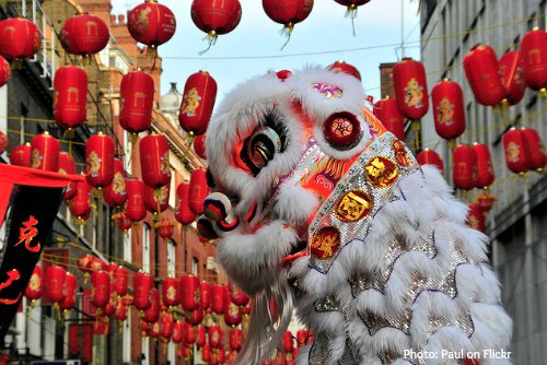 Chinatown Lion Dancer for Chinese New Year in London