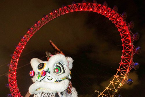 Lion Dancers Lunar New Year at the London Eye