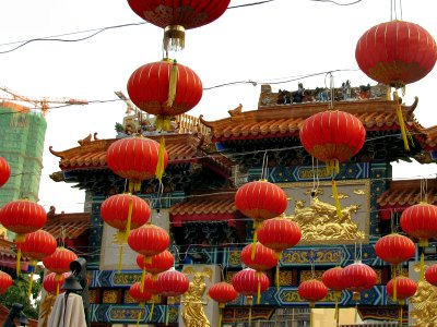 Red Balloon Lanterns at Wong Tai Sin Temple in Hong Kong
