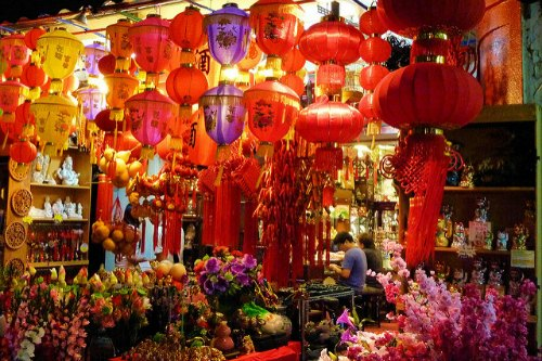 Decorations and plants for Chinese New Year on sale in Singapore