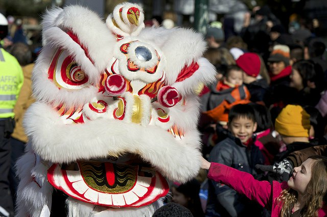 Chinese New Year Parade in Vancouver Chinatown: Kids and Lion Dancers