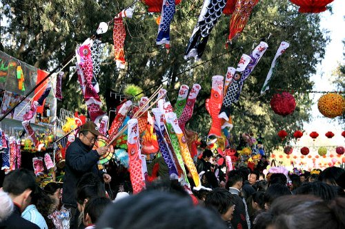 Vendors during Chinese New Year at Ditan Temple Fair in  Beijing
