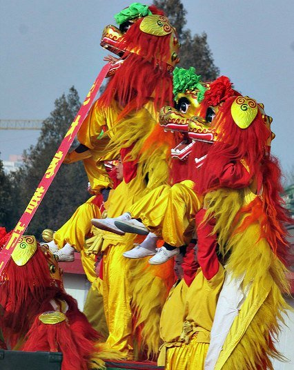 Lion Dances at Ditan Temple Fair in  Beijing