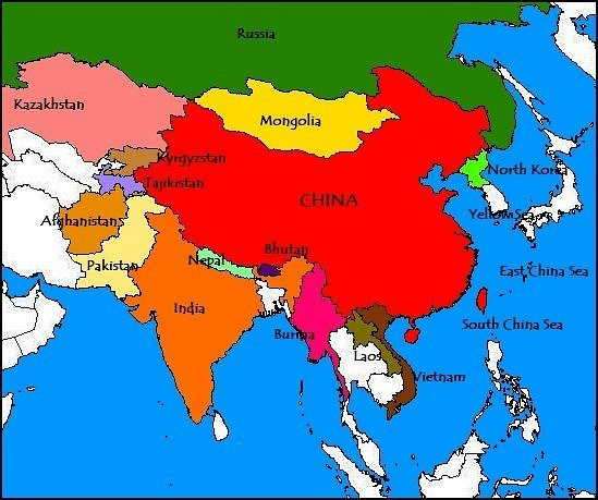 China's neighbor countries in Asia