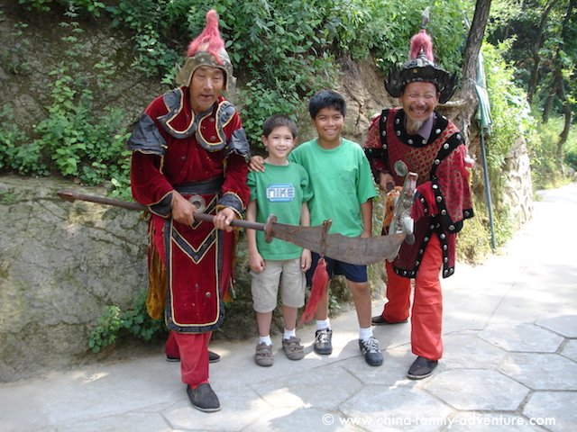 Children with Chinese Warriors at the Great Wall