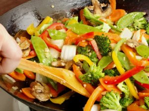 Chinese cooking stir frying