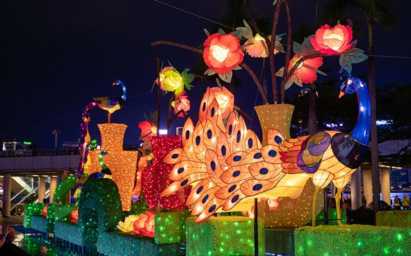 Lantern Festival in Hong Kong - Thematic Exhibition Glittering Peacocks in Full Moon