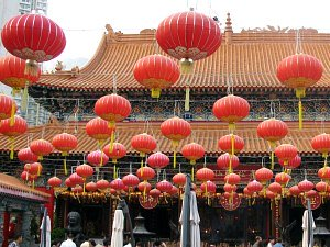 Chinese New Year Red Lanterns decorate temple