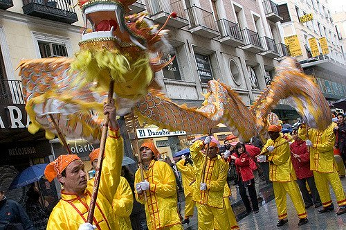 Dragon Parade in Madrid during Chinese New Year