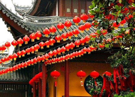 Chinese New Year Lanterns decorate a courtyard