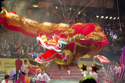 Dragon floats at the Hong Kong Chinese New Year Parade
