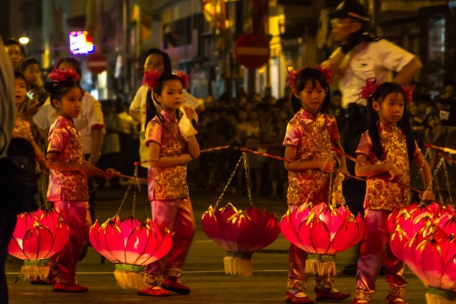 Children at Lantern carnival for Mid-Autumn Festival