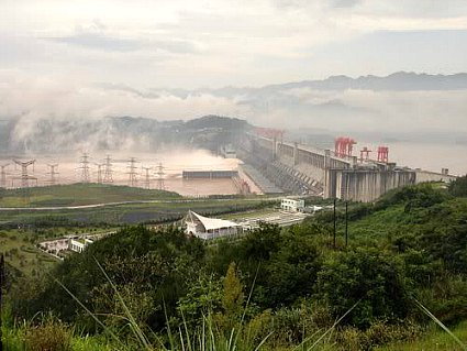 The Three Gorges Dam from observation platform