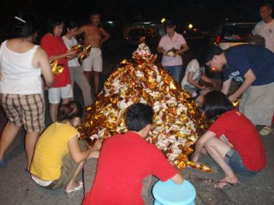 Chinese New Year Burning Gold Paper